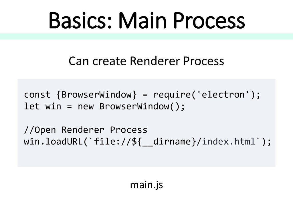 Can create Renderer Process Basics: Main Proces...