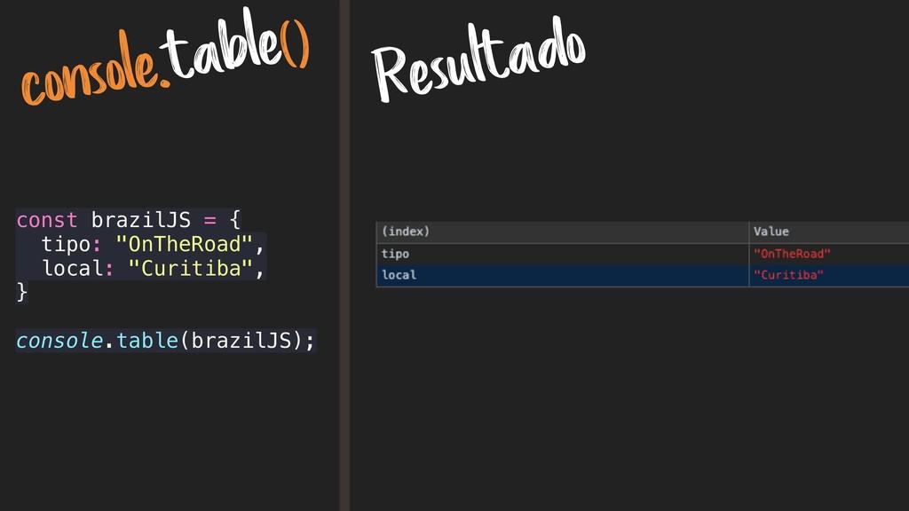 console.table() Resultado const brazilJS = { ti...
