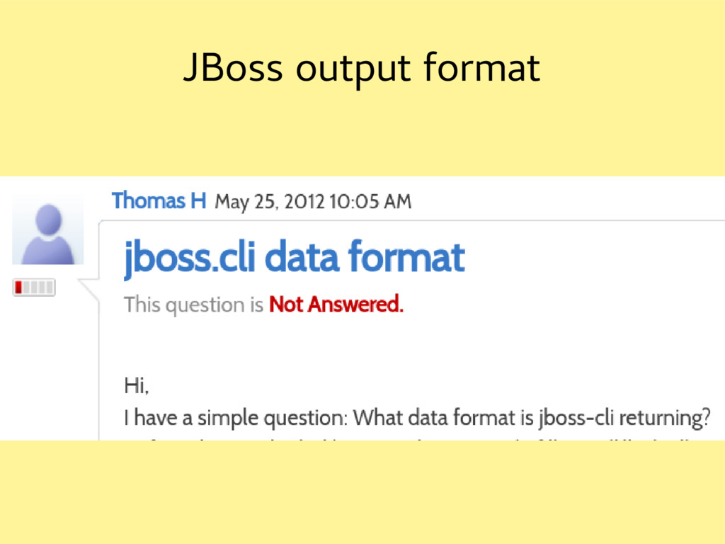 JBoss output format
