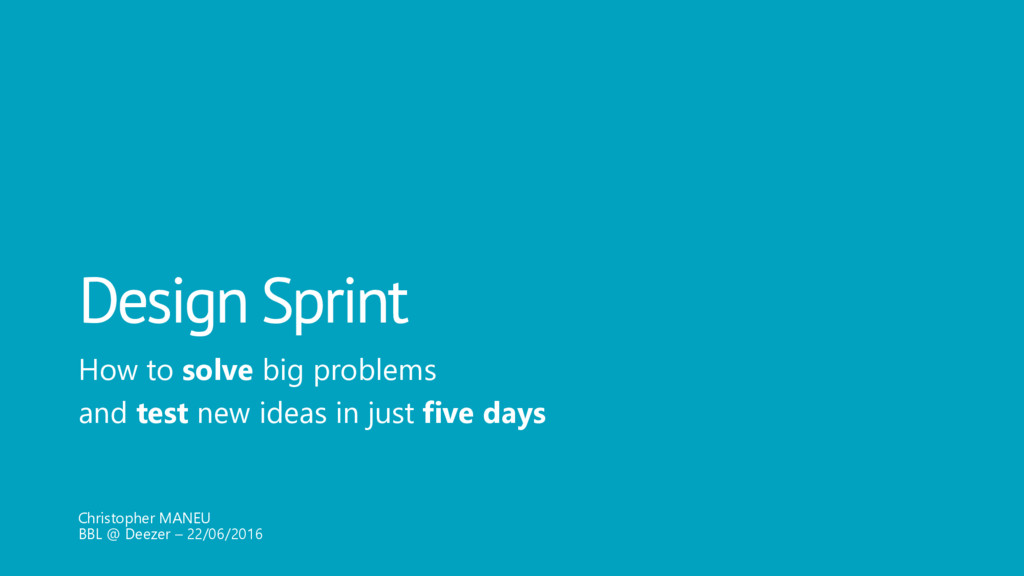 Design Sprint How to solve big problems and tes...