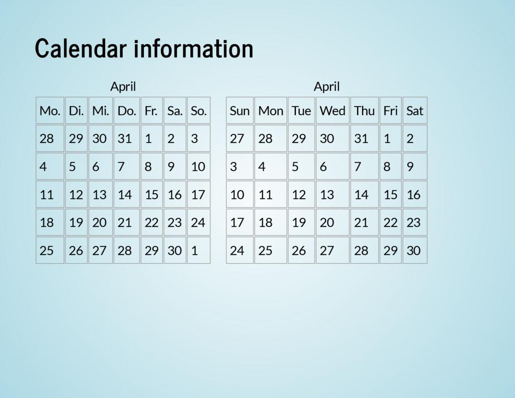 Calendar information April Mo. Di. Mi. Do. Fr. ...