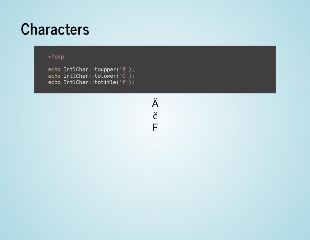 Characters Ä č F < ? p h p e c h o I n t l C h ...