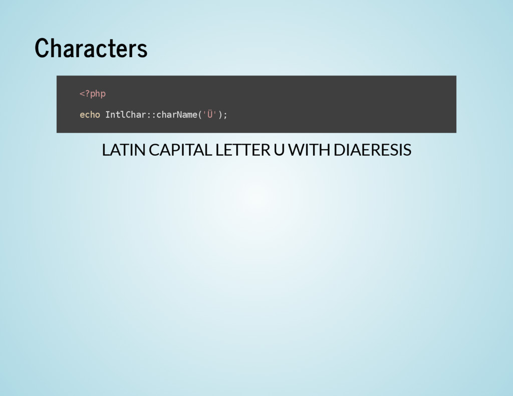 Characters LATIN CAPITAL LETTER U WITH DIAERESI...