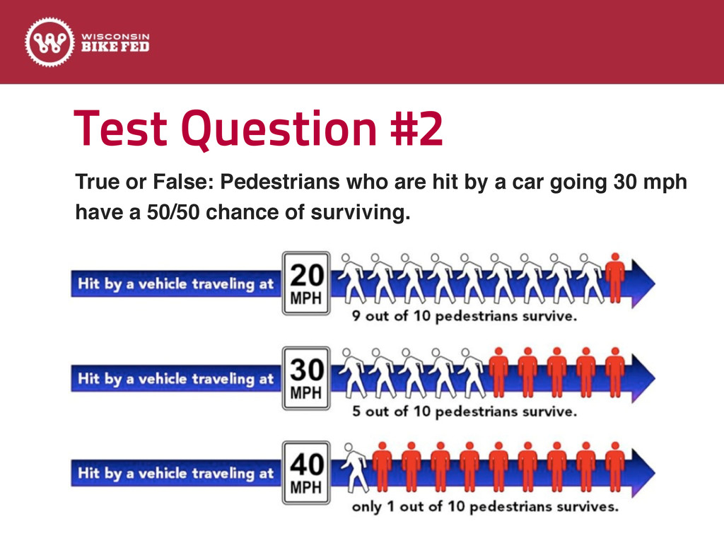 Test Question #2 True or False: Pedestrians who...