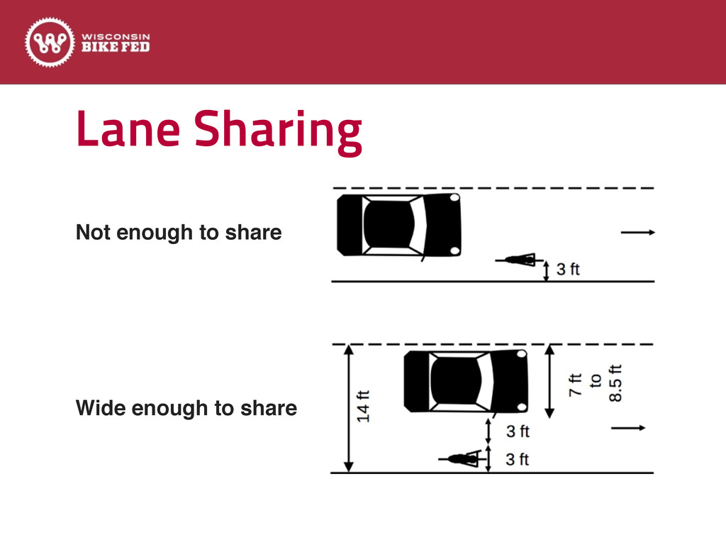 Lane Sharing Text Not enough to share Wide enou...