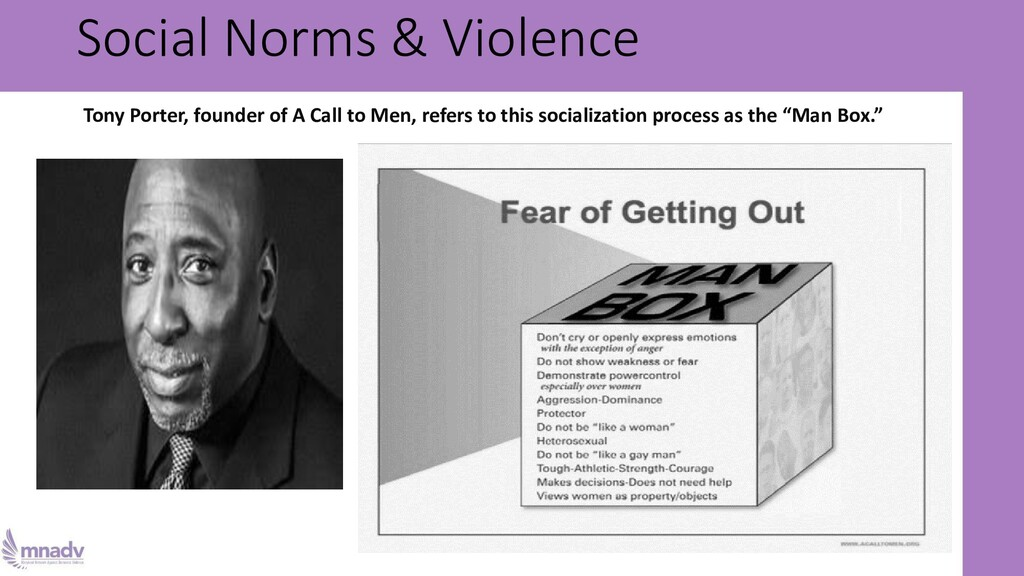 Social Norms & Violence Tony Porter, founder of...