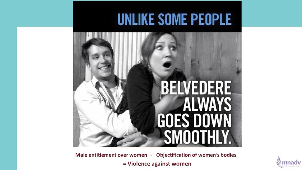 Male entitlement over women + Objectification o...