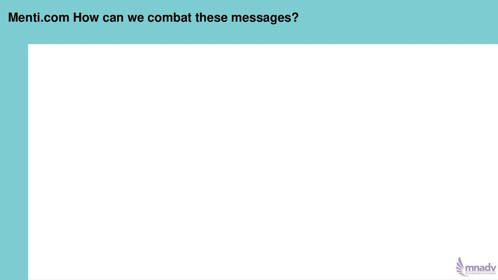 Menti.com How can we combat these messages?