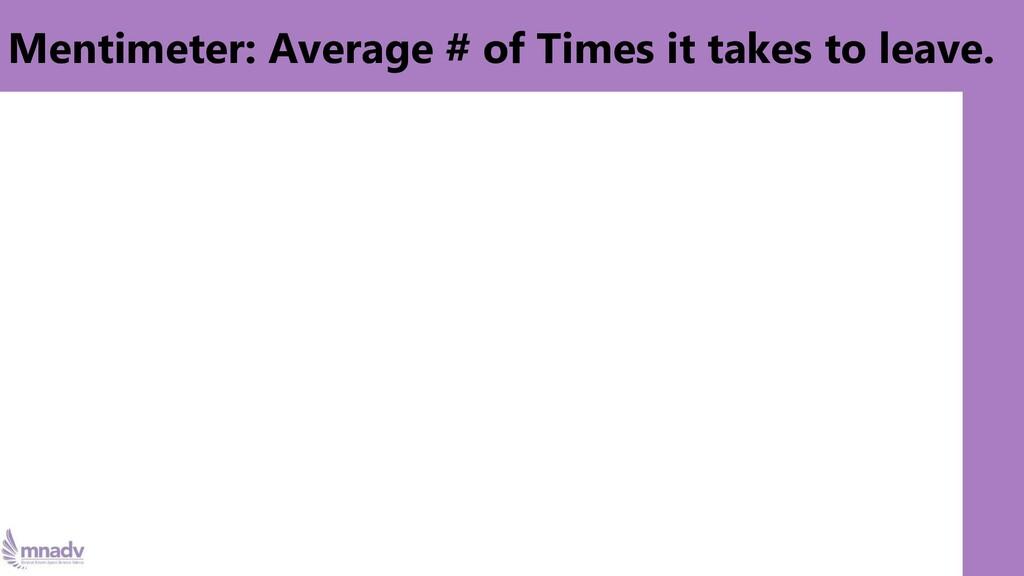 Mentimeter: Average # of Times it takes to leav...