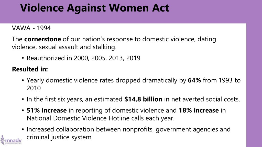 Violence Against Women Act VAWA - 1994 The corn...