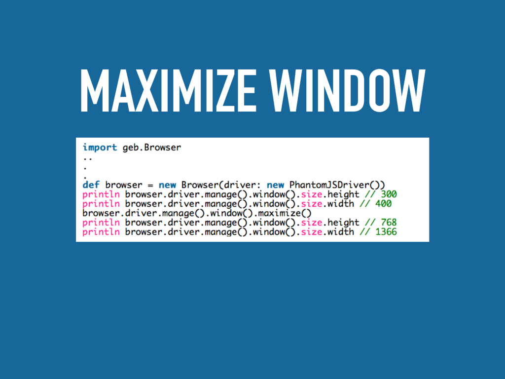 MAXIMIZE WINDOW