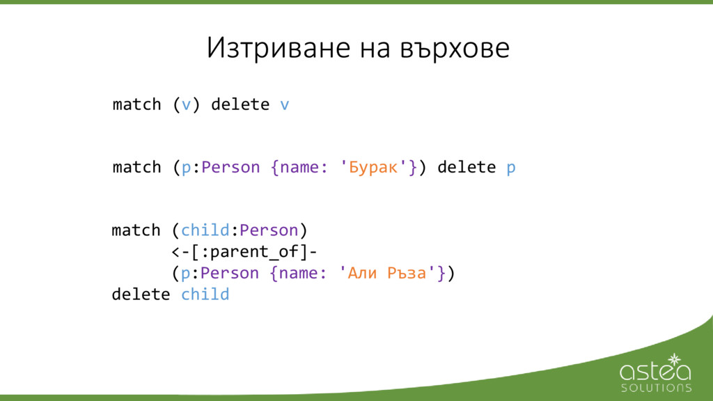 match (p:Person {name: 'Бурак'}) delete p Изтри...