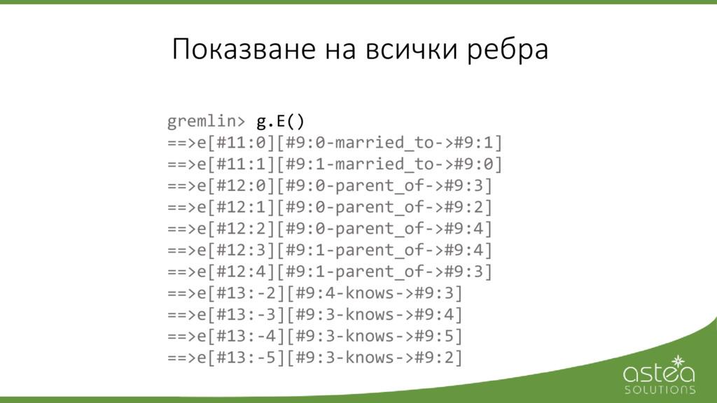 gremlin> g.E() ==>e[#11:0][#9:0-married_to->#9:...