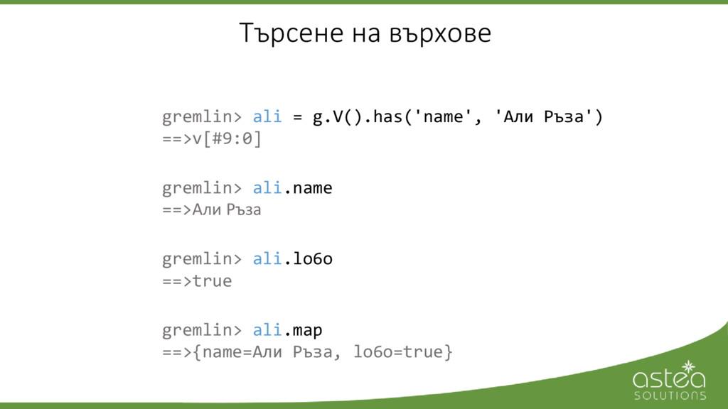 gremlin> ali = g.V().has('name', 'Али Ръза') ==...