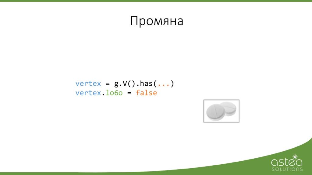 Промяна vertex = g.V().has(...) vertex.lo6o = f...