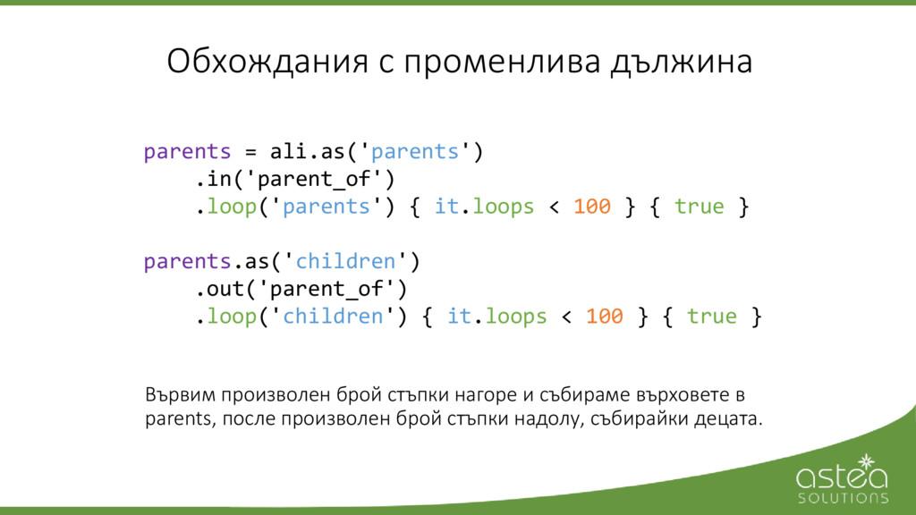 Обхождания с променлива дължина parents = ali.a...