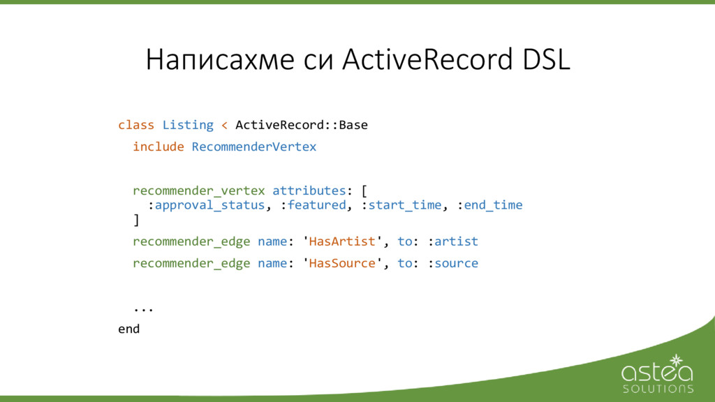 Написахме си ActiveRecord DSL class Listing < A...