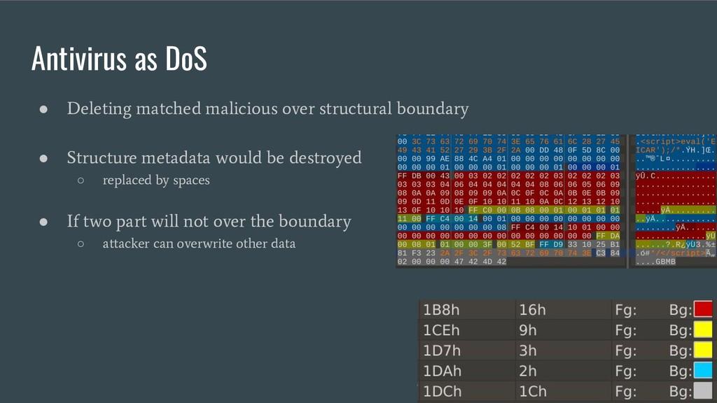 Antivirus as DoS ● Deleting matched malicious o...