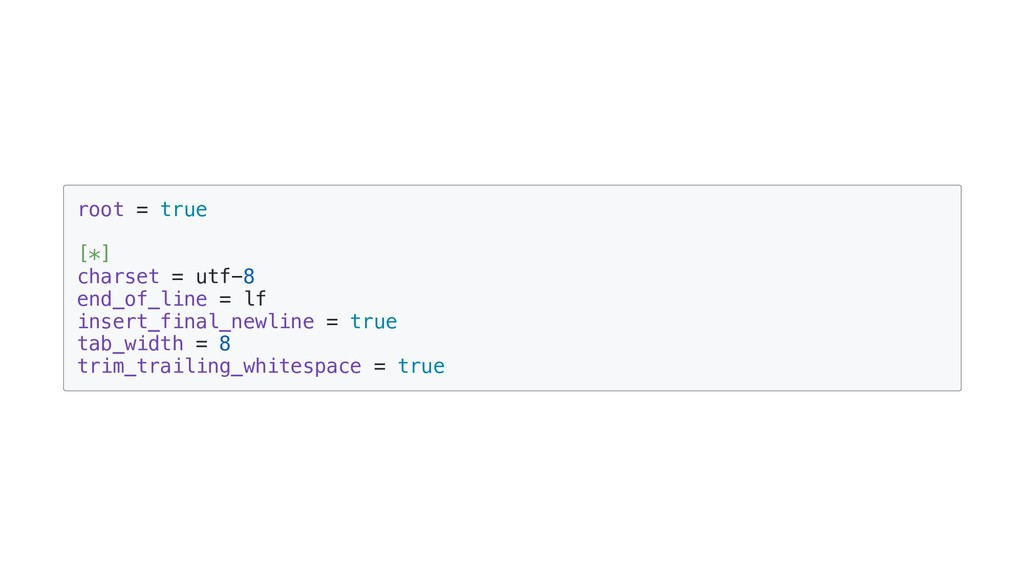 root = true [*] charset = utf-8 end_of_line = l...