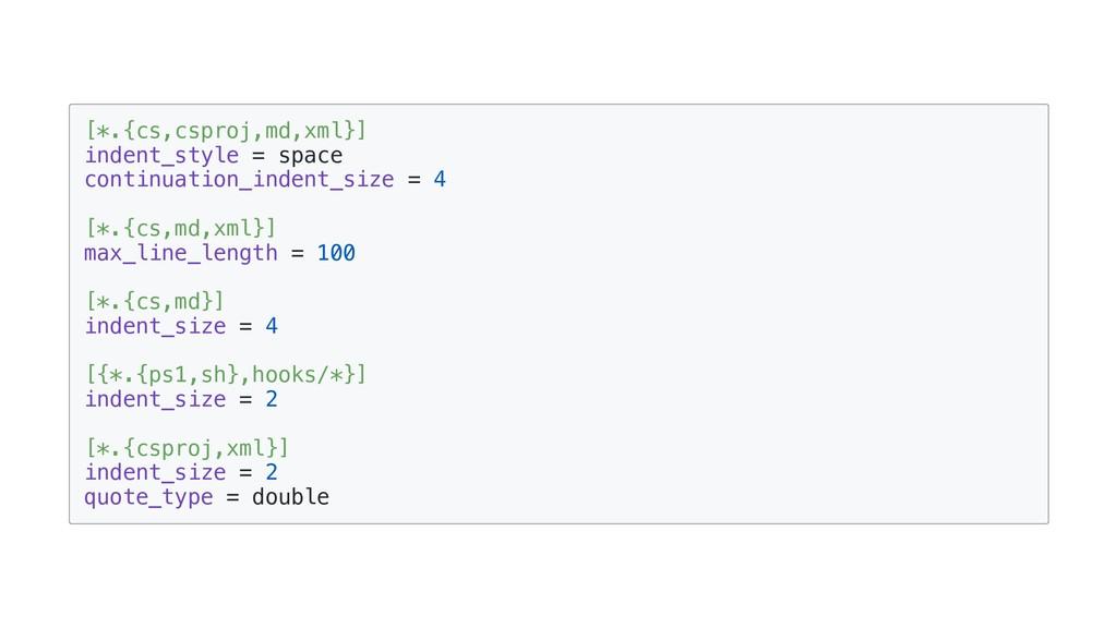 [*.{cs,csproj,md,xml}] indent_style = space con...