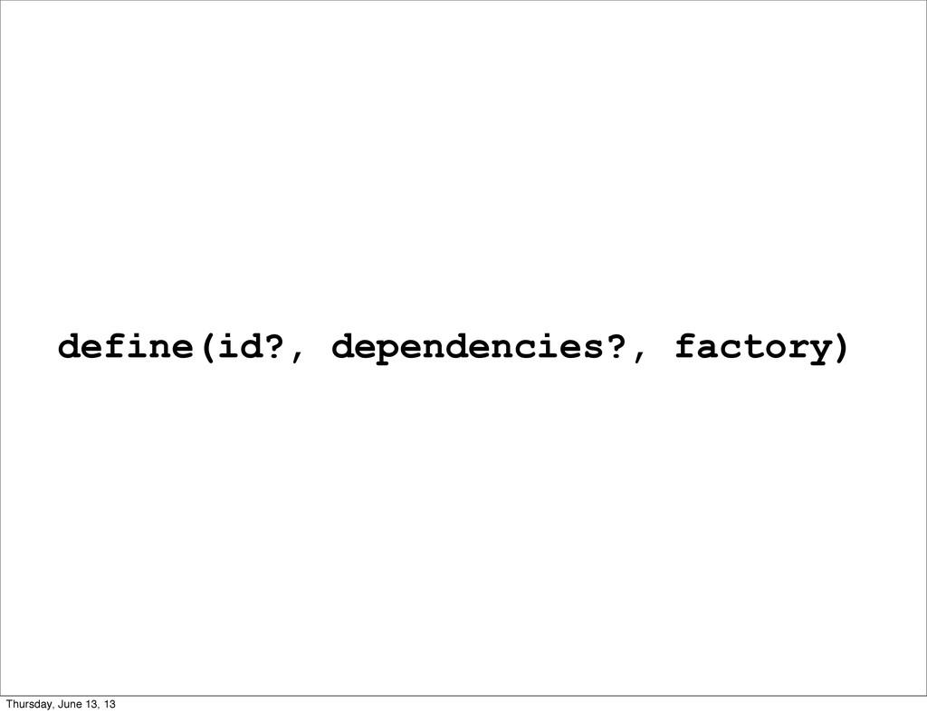 define(id?, dependencies?, factory) Thursday, J...