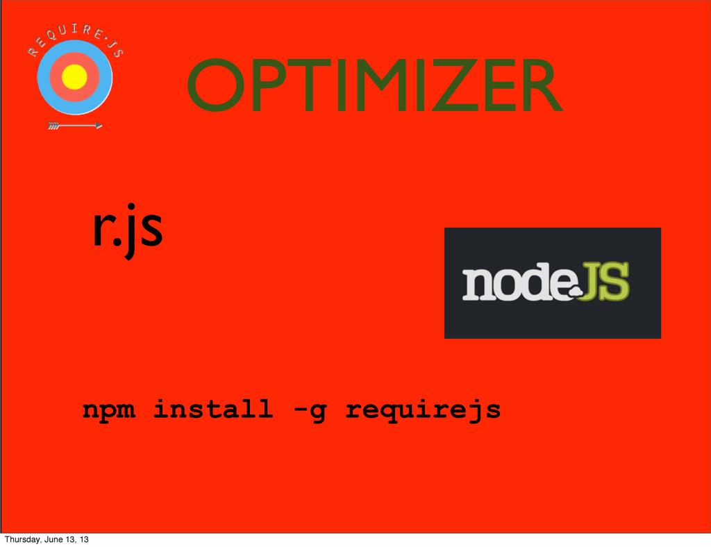 r.js npm install -g requirejs OPTIMIZER Thursda...
