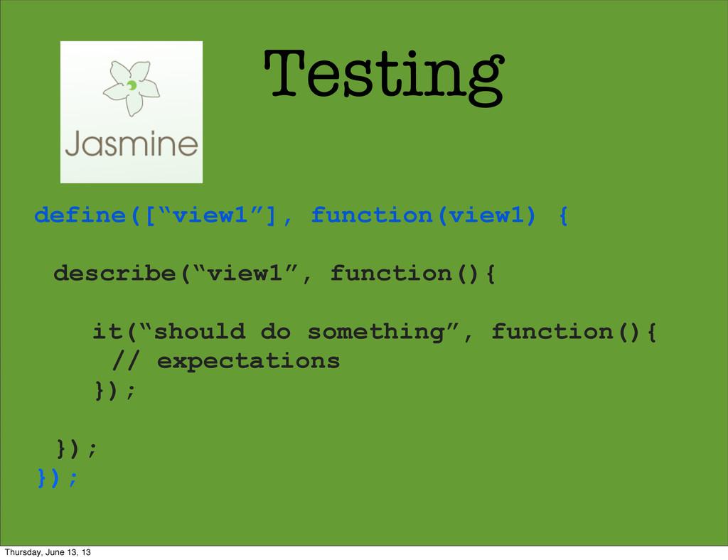 "Testing define([""view1""], function(view1) { des..."