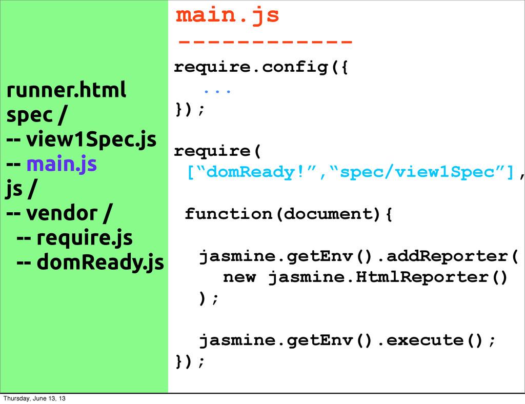 runner.html spec / -- view1Spec.js -- main.js j...