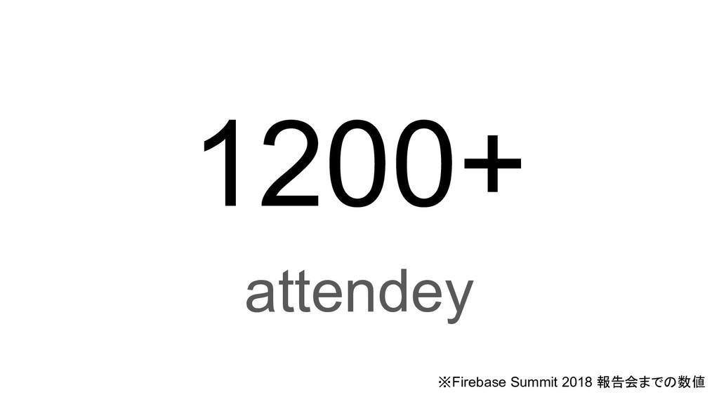 1200+ attendey ※Firebase Summit 2018 報告会までの数値