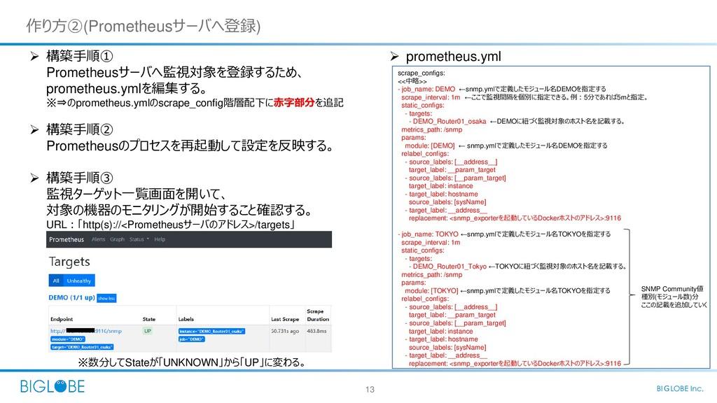 13 BIGLOBE Inc. 作り方②(Prometheusサーバへ登録)  構築手順① ...