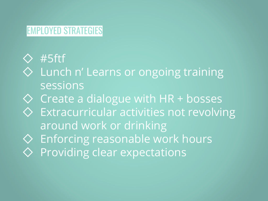 EMPLOYED STRATEGIES ◇ #5ftf ◇ Lunch n' Learns o...