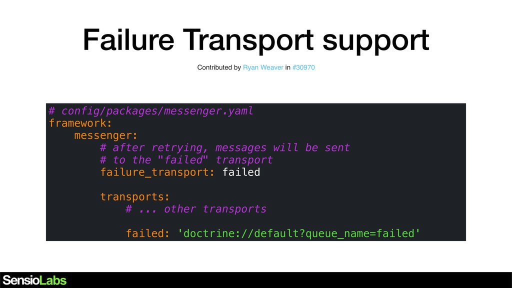 Failure Transport support Contributed by ... in...
