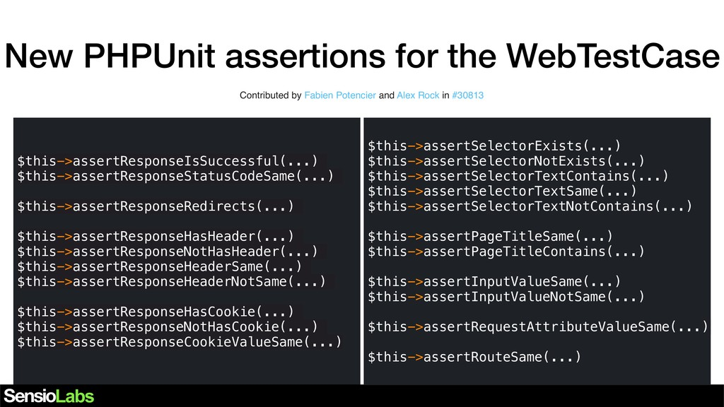 New PHPUnit assertions for the WebTestCase Cont...