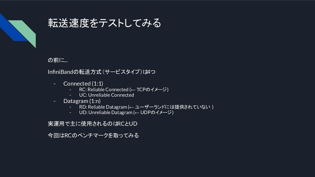 転送速度をテストしてみる の前に... InfiniBandの転送方式(サービスタイプ)は 4つ...