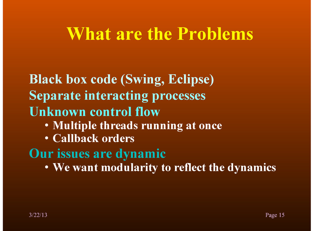 What are the Problems Black box code (Swing, Ec...