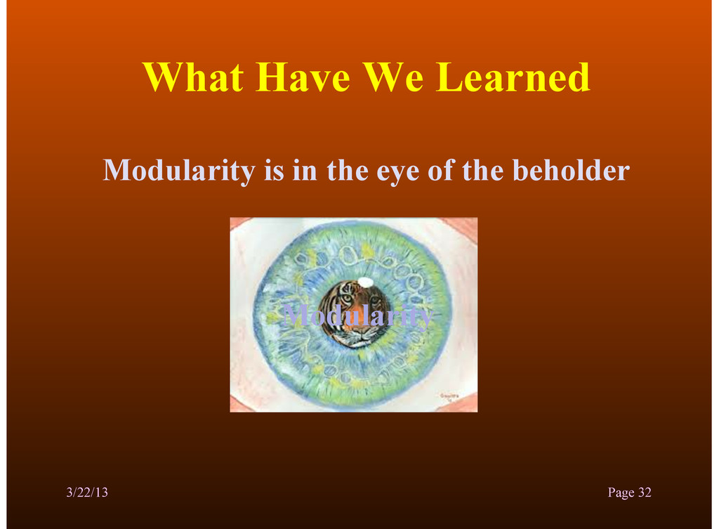 What Have We Learned Modularity is in the eye o...