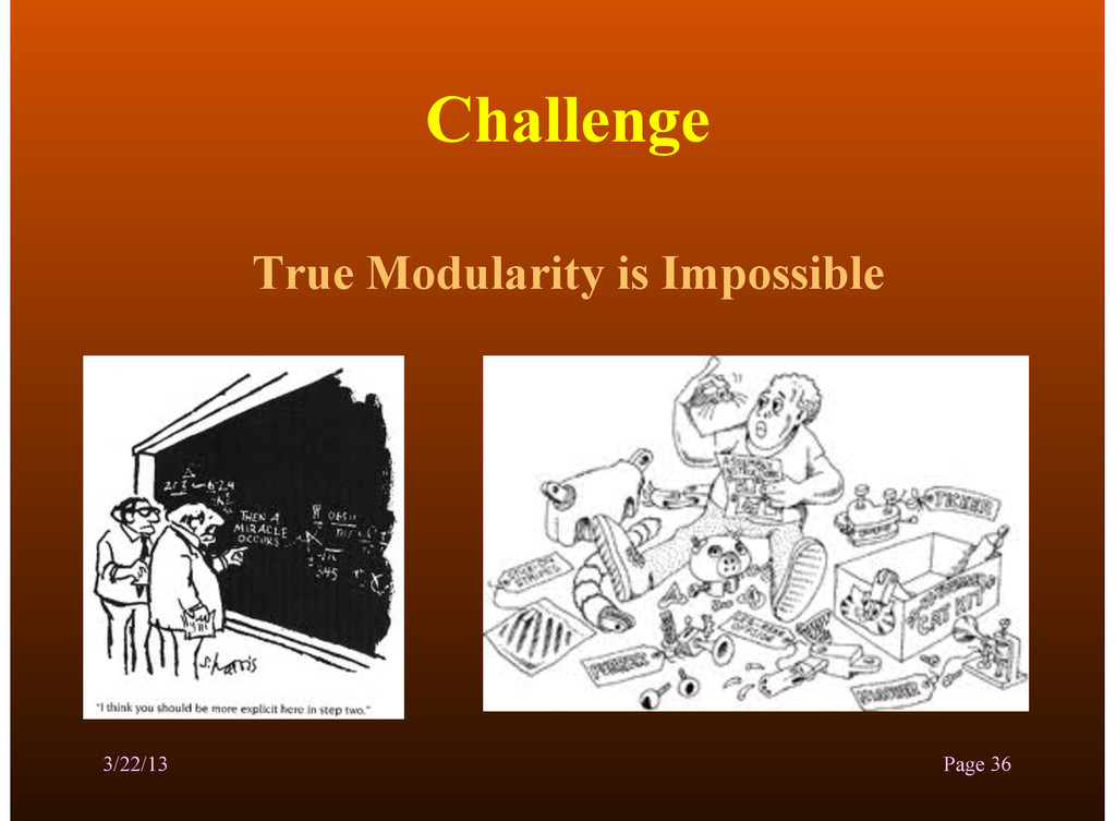 Challenge True Modularity is Impossible 3/22/13...