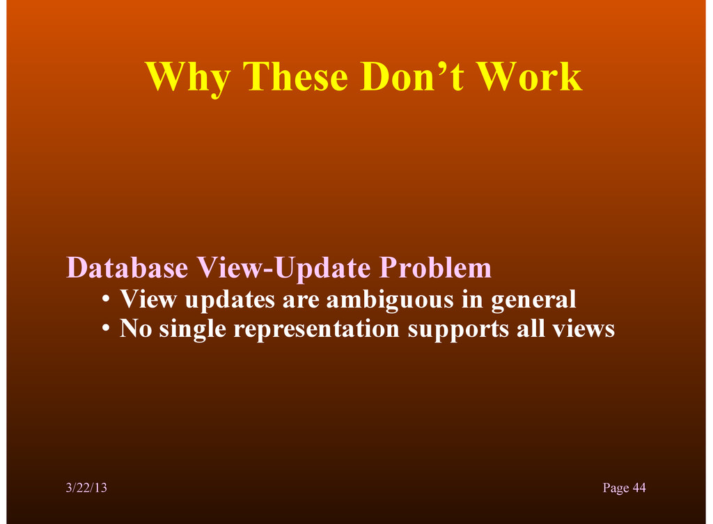 Why These Don't Work Database View-Update Probl...