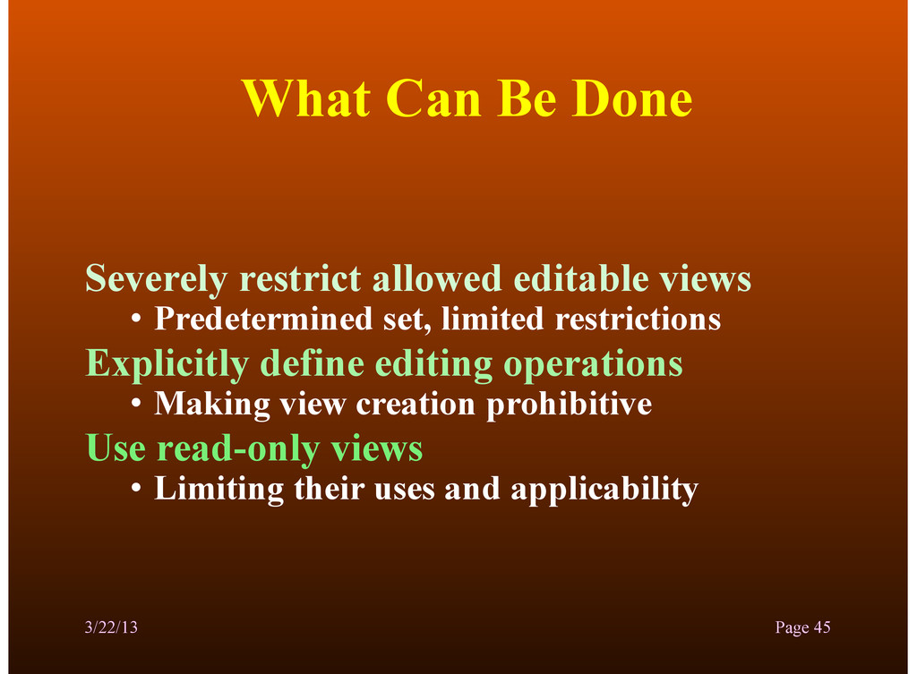 What Can Be Done Severely restrict allowed edit...