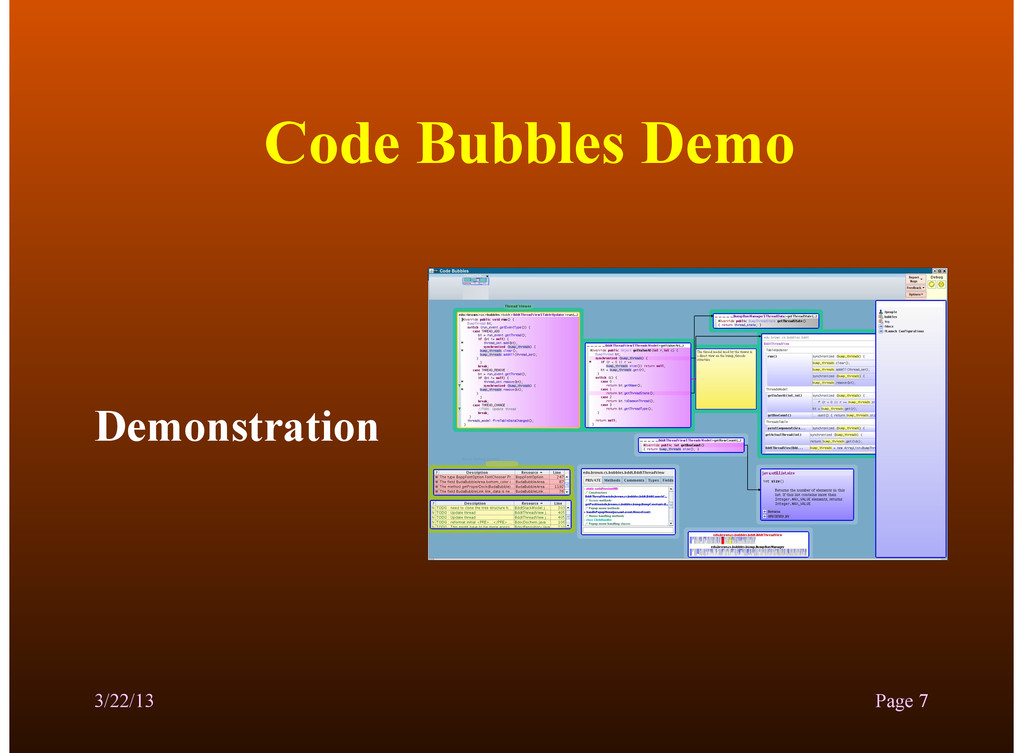 Code Bubbles Demo Demonstration 3/22/13 Page 7