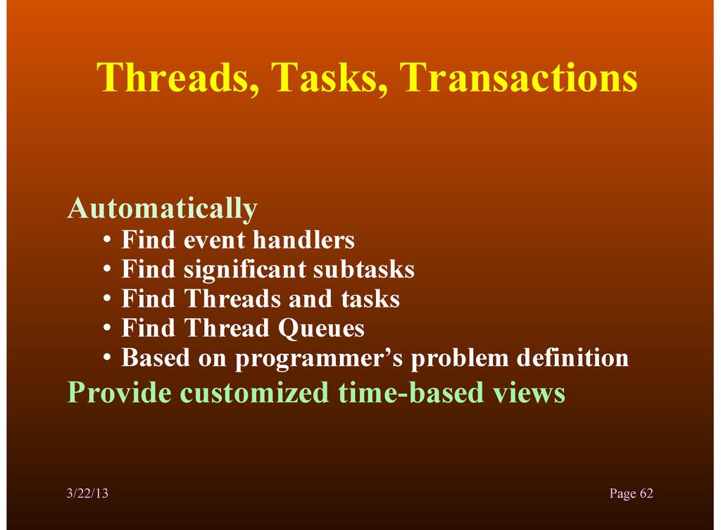 Threads, Tasks, Transactions Automatically • Fi...