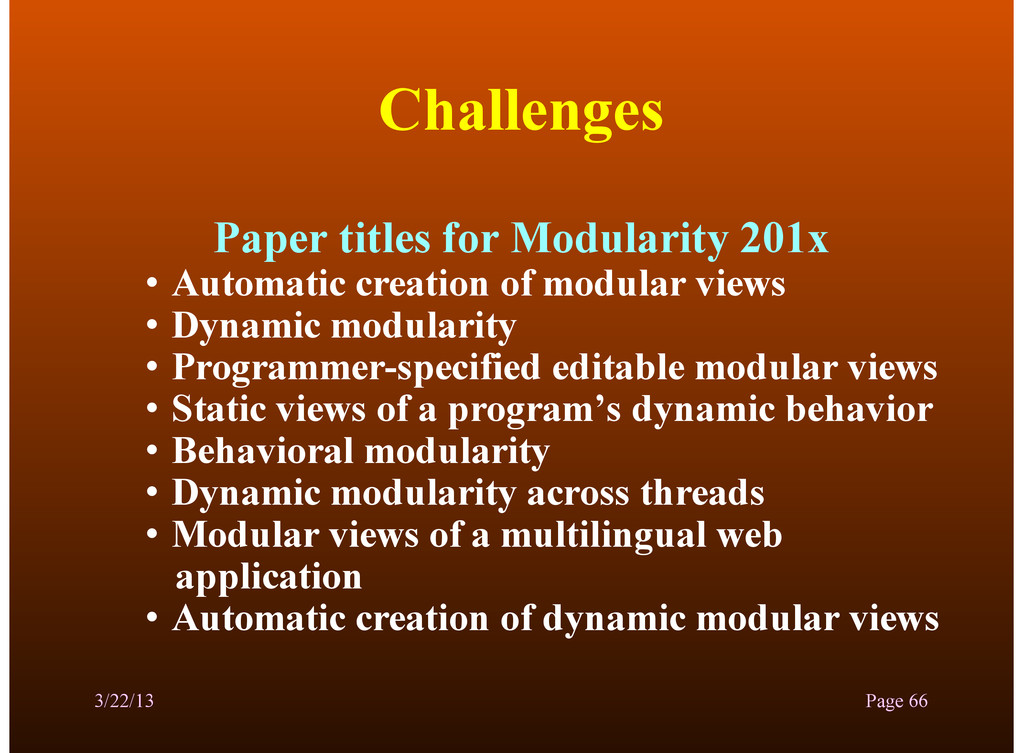 Challenges Paper titles for Modularity 201x • A...