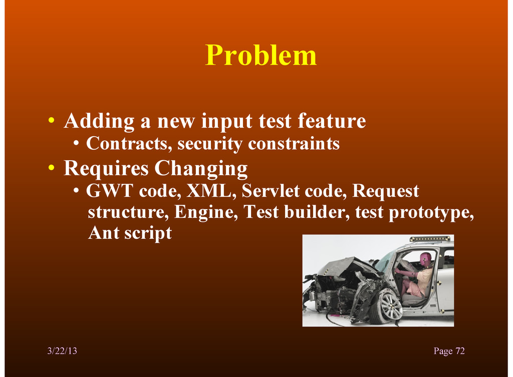 Problem • Adding a new input test feature • Con...