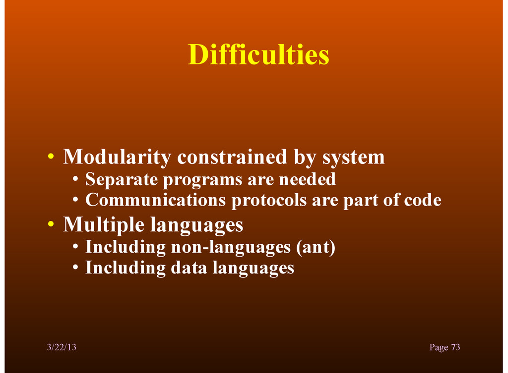 Difficulties • Modularity constrained by system...