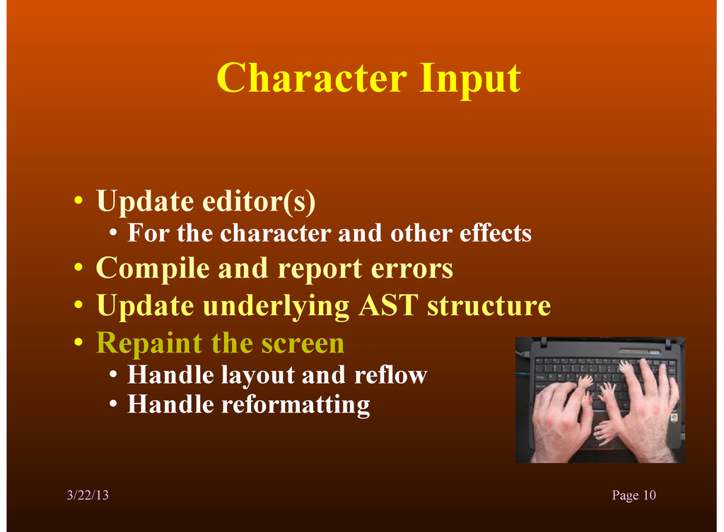 Character Input • Update editor(s) • For the ch...