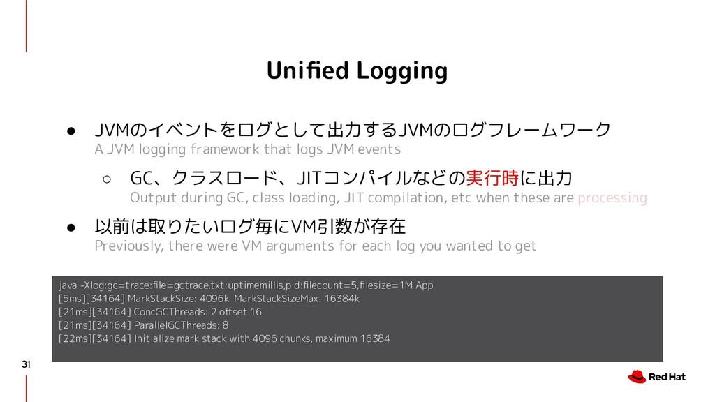 Unified Logging ● JVMのイベントをログとして出力するJVMのログフレームワー...
