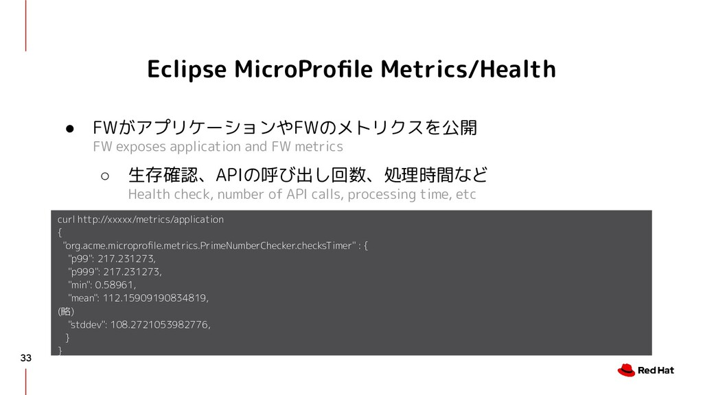 Eclipse MicroProfile Metrics/Health ● FWがアプリケーショ...
