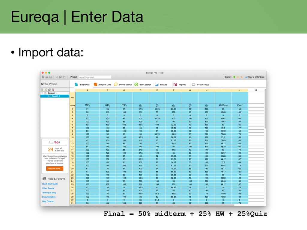 Eureqa | Enter Data • Import data: Final = 50% ...