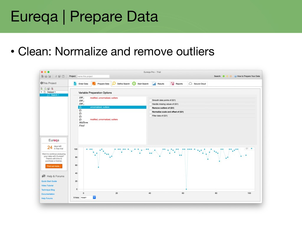 Eureqa | Prepare Data • Clean: Normalize and re...