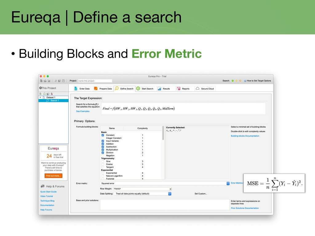 Eureqa | Define a search • Building Blocks and ...